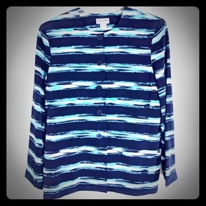 Alfred Dunner Blue and White Lined Jacket